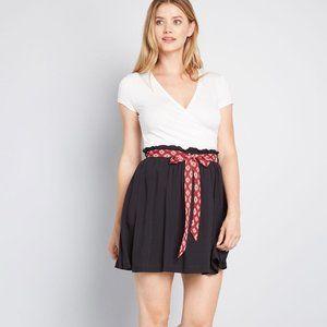 Added Enjoyment Skater Mini Skirt with Sash